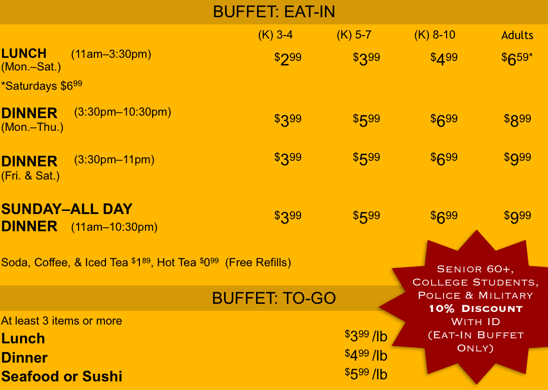 Peking Buffet Prices  Eat-In and To-Go
